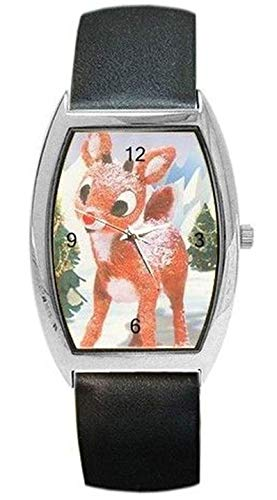 Christmas Rudolph the Red Nosed Reindeer Womens or Girl Barrel Watch with Leather Band -10-15 days shipping