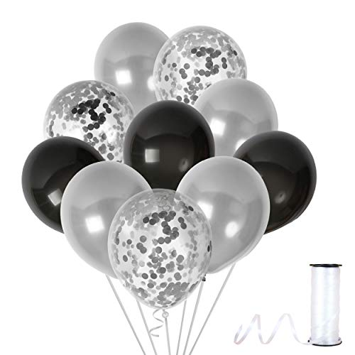 Black and Silver Thick Latex Balloons 12 Inch Confetti Glitter to Fill Clear Transparent Decor Dark Party Decorations Birthday Wedding Metallic Elegant Supplies