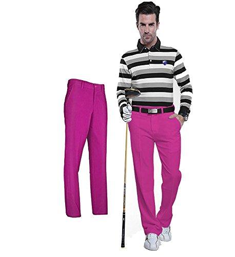 Kayiyasu ロングパンツ メンズ ゴルフウェア 防水 UVカット 男性用 撥水 長ズボン 021-xsty-kuz005(XXS ローズ)