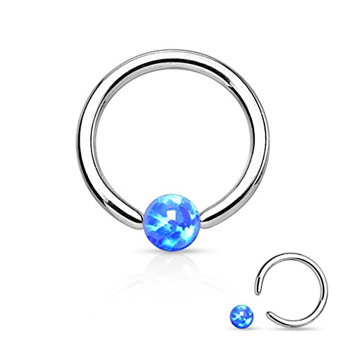 - Opal Captive Bead Synthetic Opal Ball 316L Surgical Steel Captive Bead Ring (16g 1/4