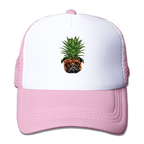 Unisex Fitted Mesh Hat Baseball Caps Pink (Funny Pug)