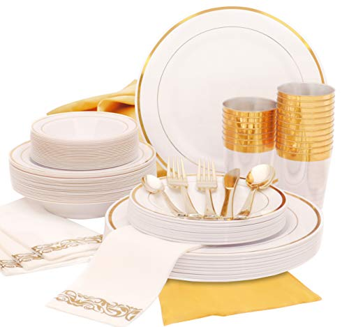 Earth's Dream Gold Plastic Plates Set – A Complete Disposable Dinnerware Set with 100 Party Plates (25 Dinner, 25 Salad…