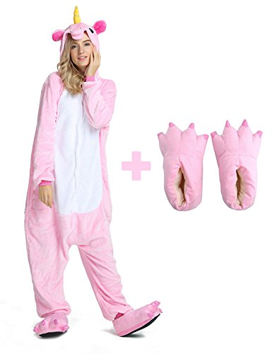 Unisex Unicorn Onesie Pajamas Animal Costume Sleepwear with Monster Slipper Paws Shoes (Pink L) -