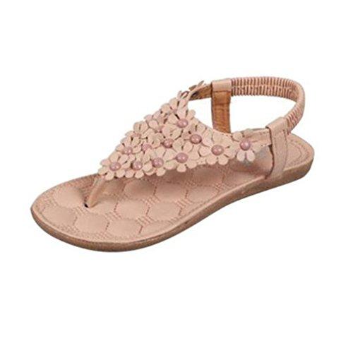 Koly Women Summer Bohemia Sweet Flowers Beaded Sandals Clip Toe Sandals Beach Shoes Khaki