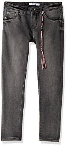 DKNY Big Girls' Skinny Fit Jean (More Styles Available), 1069DG Beat up Black, 8 by DKNY