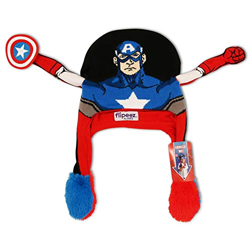 Marvel Boys Little Avengers Captain America Squeeze and Flap Fun Hat, Black/Blue/red, Age 4-7