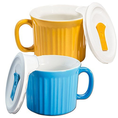 Corningware 20-oz Pop-ins Mug Set Includes 2 Mugs with Vented Plastic Lids (Pool Blue & Sunflower) (Sunflower Corningware)