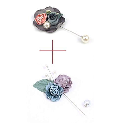 Fashion Lapel Pin 4 Color Women & Men Brooches Of Fabric Flowers Lapel Pin Brooch For Suits Handmade Elegant Wedding Brooch 2 pieces