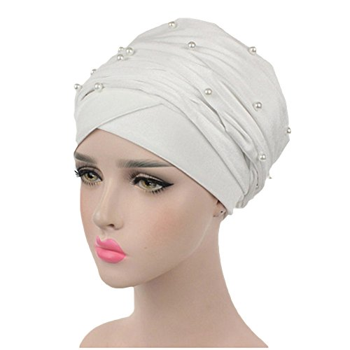 - Women's Luxury Velvet Turban Headband Pearl Pleated Long Solid Color Head Wrap