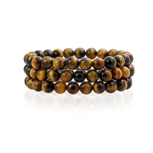 Bling Jewelry Set of 3 Stackable Simulated Tiger Eye Stretch Bracelet 8mm