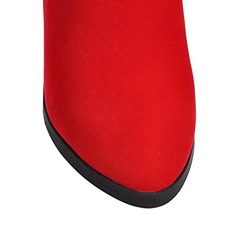 AgooLar Women's Kitten-Heels Solid Pointed Closed Toe Frosted Zipper Boots Red 2l9oxCeAE