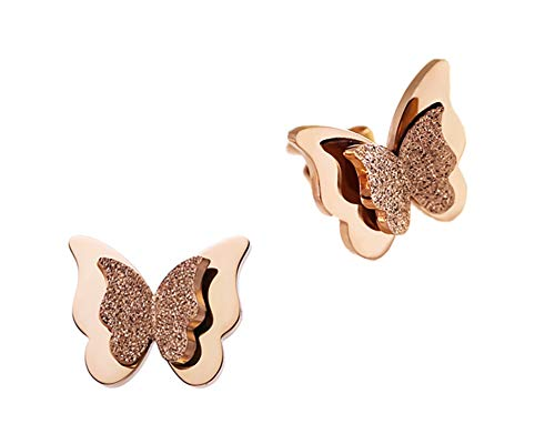 - WDSHOW 18k Rose Gold Plated Frosted Stainless Steel Stud Butterfly Earrings for Girl