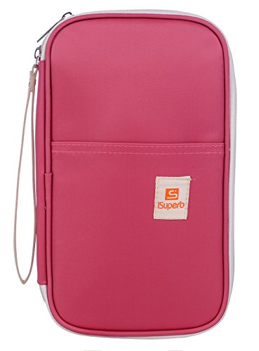 "iSuperb Passport Wallets Organizer Waterproof Polyester Travel Wallet Purse Bag with Document Organizer 5.3"" L x 1.4"" W x 9"" H Pink"