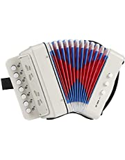 Flexzion 10 Key Accordion Instrument, Mini Musical Accordion with 3 Air Valves, Hand Strap, Small Button, Musical Instrument (White)