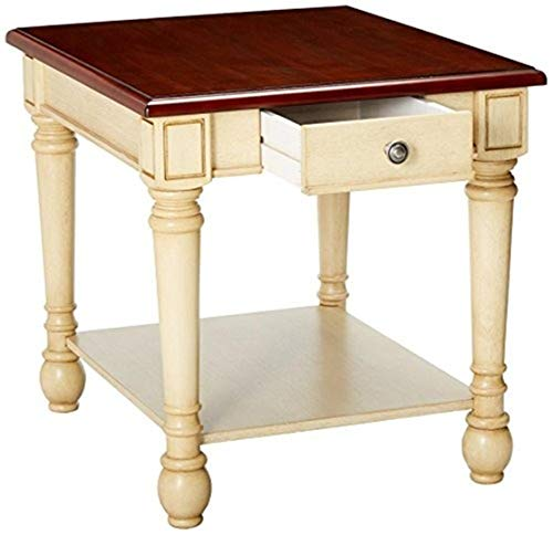 Rectangular End Table Dark Brown and Antique White