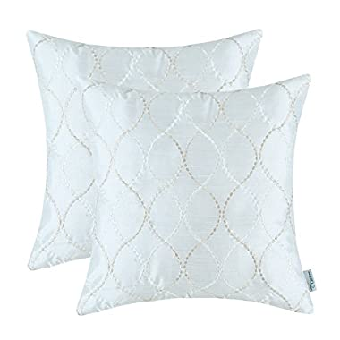 Pack of 2 CaliTime Pillow Shells Cushion Covers Faux Silk Waves Embroidered Off-White Color 18  X 18