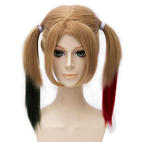 Miss U Hair Girl Adult Medium Long Straight Gradient Black Red Color Lolita Cosplay Costume Wig Bunches (Straight)