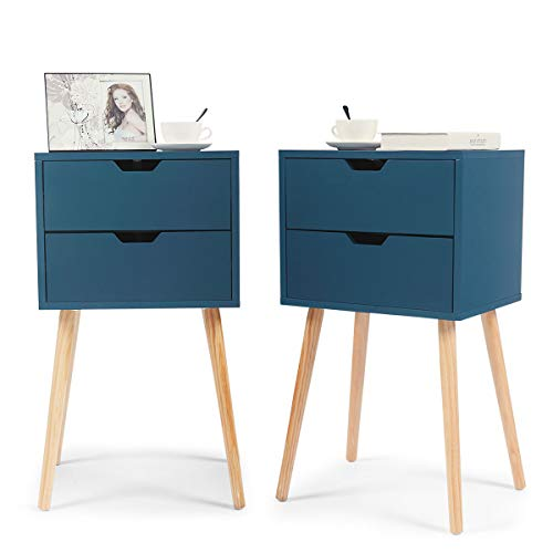 JAXSUNNY Set of 2 Nightstand Accent Bedside End Table Storage Wood Cabinet Bedroom w/2 Drawers,Blue, 28 Inch Tall