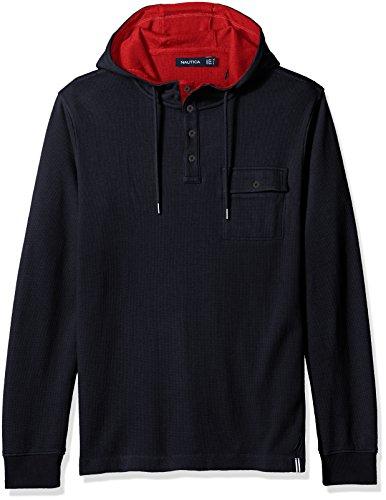 Nautica Men's Slim Fit Hooded Henley Shirt, True Navy M