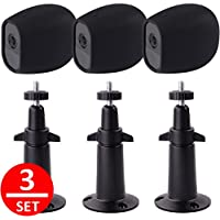 EEEKit 3 Pcs Security Mental Wall Mount+3 Pcs Silicone Skins Protective Cover Case, Adjustable Indoor/Outdoor Mount for Arlo Pro Camera (3Pcs Black Mount+3Pcs Case)