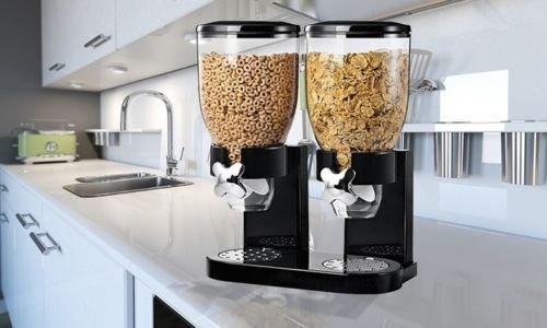 Nuevo doble dispensador de cereales recipiente de almacenamiento de alimentos secos Máquina Dispensadora casa negro: Amazon.es: Hogar