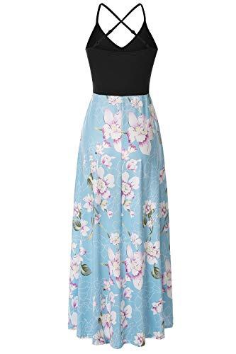 Londony❀♪ Women's Summer Striped Print Maxi Dress Contrast Sleeveless Tank Top Floral Print Long Maxi Dresses Light Blue