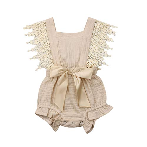 Newborn Infant Baby Girl Clothes Lace Halter Backless Jumpsuit Romper Bodysuit Sunsuit Outfits Set (New Beige, 18-24 Months)