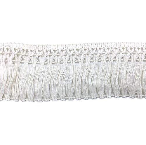FQTANJU 5 Yards X 6cm Wide Cotton Tassel Fringe in Beige. 6cm