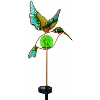 Moonrays Solar LED Garden Stake Lights In Hummingbird Design (Metal U0026 Glass  Materials)