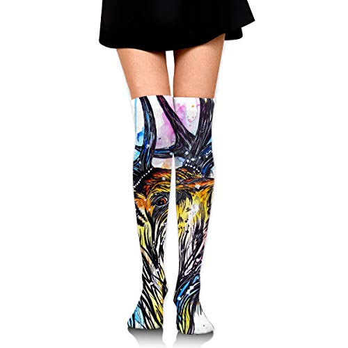 High Elasticity Girl Cotton Knee High Socks Uniform Colorful Stag Cried Women Tube Socks ()