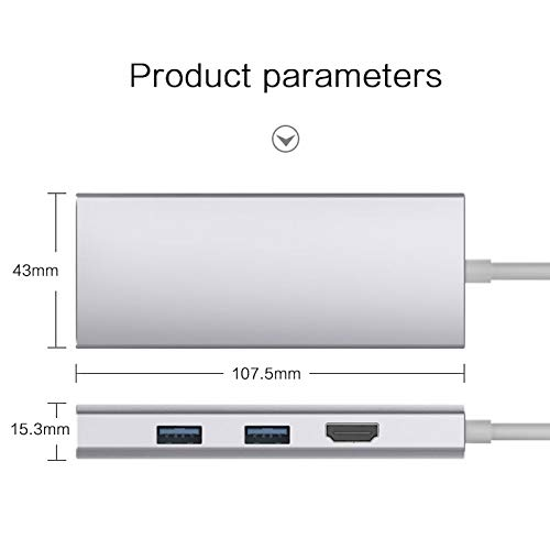 D-Electro Component USB C Hub - Thunderbolt 3 USB Type C Hub to HDMI Rj45  1000Mbps Adapter USB-C Dock for Nintend Switch MacBook Pro with PD SD/TF