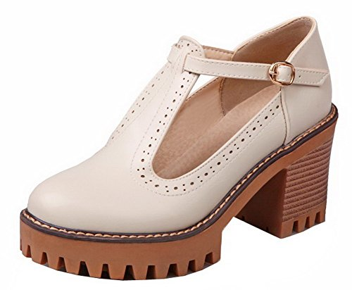 Allhqfashion Mujeres High-heels Pu Sólido Hebilla De Punta Redonda-zapatos Beige