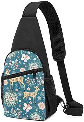 鹿と花 斜め掛け ボディ肩掛け ショルダーバッグ ワンショルダーバッグ メンズ 多機能レジャーバックパック 軽量 大容量