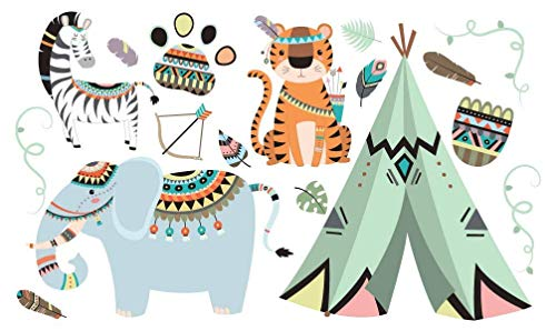 Sticky Toes Peel and Stick Wild Animal Zoo Wall Stickers Decoration, Wall Art Decals for Kids, Any Room (Assorted Animals+Tent) Set 1]()