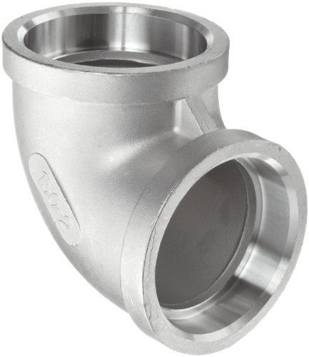 Stainless Steel 304 Cast Pipe Fitting, 90 Degree Elbow, Socket Weld, MSS SP-114, 1-1/2