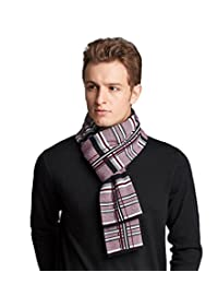 RIONA Men's Winter Cashmere Feel Australian Wool Soft Warm Knitted Scarf with Gift Box(Burgundy)