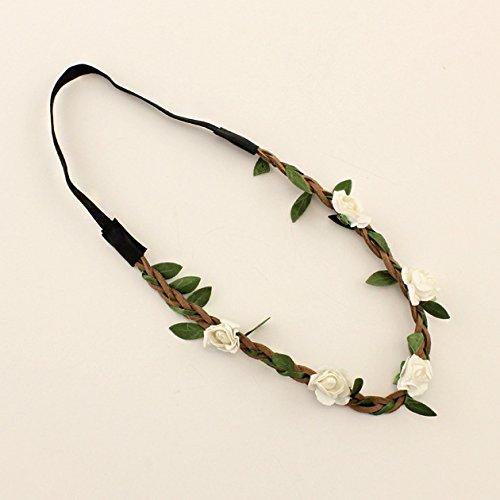Fashion Womens Head Band Bohemia Beach Head Flower Wreath Hair Bands Headband Hair Accessory Bridal Headpiece White