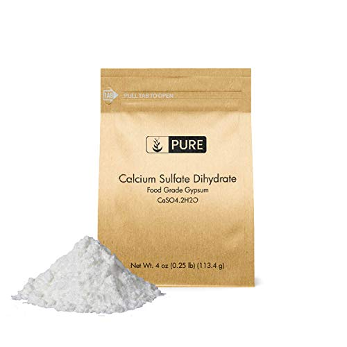 Calcium Sulfate (Gypsum) (4 oz.) by Pure Organic Ingredients, Eco-Friendly Packaging, for Multiple Uses Including Baking, Water Treatment, Gardening ()
