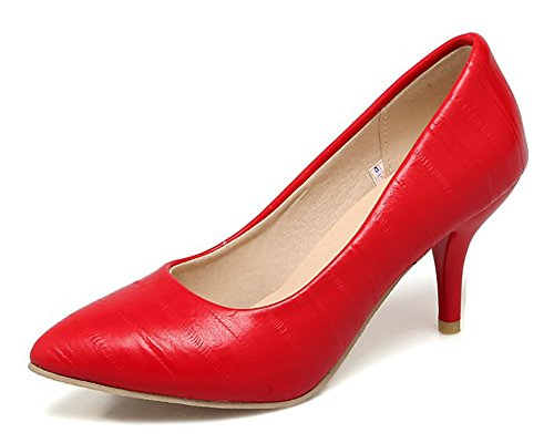 Aisun Womens Élégante Bout Pointu Coupe Basse Robe Habillée Partie Mariée Slip Sur Stiletto Kitten Talon Pompes Chaussures Rouge