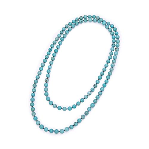 Natural Turquoise Endless Necklace Bohemian Long Beaded Strand Handmade Knotted Jewelry for Women Girls Fashion Multi-strand Gemstone Necklace for Her ()