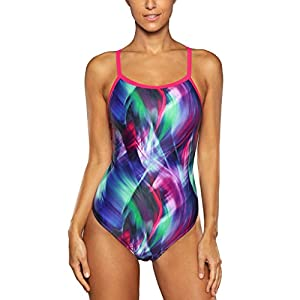 ALove Women's Printed Athletic One Piece Swimsuit Sports Swimwear Training Suit