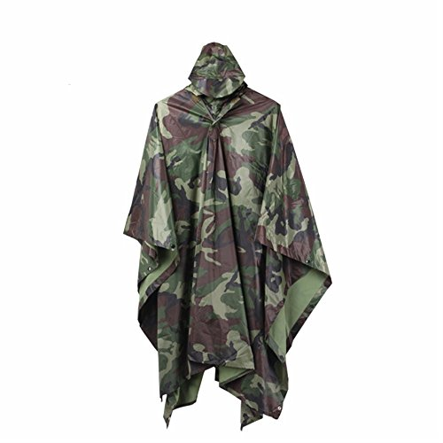 ELLEN Multifunction Waterproof Raincoat Military Camouflage Poncho for Camping Tent Rain Cover Outdoor (Jungle) for $<!--$15.99-->