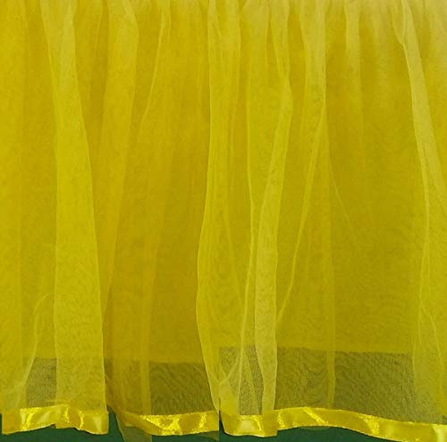 - Yellow Tulle Ruffle Satin Trim Crib Skirt 16 Inch drop