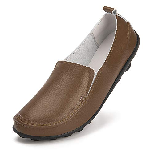 Harence Shoes for Women Comfortable Slip On Driving Loafers Casual Leather Walking Flats Shoes Khaki