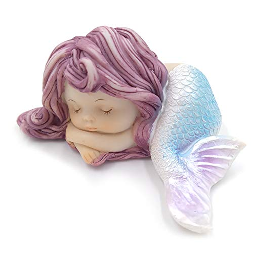 CDKJ Resin Mermaid Ornament Sleeping Mermaid statue for Miniature Fairy Garden Aquarium and cake decorations 1shta