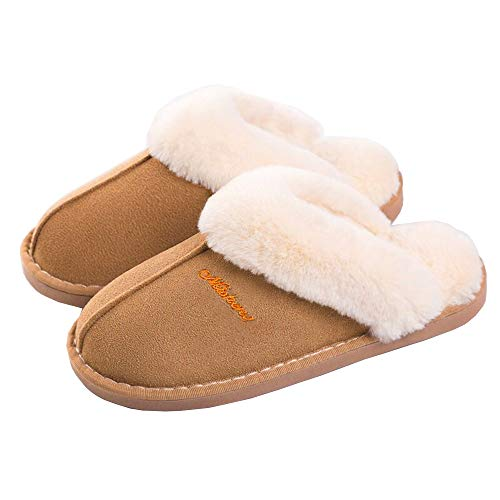 SOSUSHOE Women Slippers Fluffy Fur Slip On House Slippers Soft and Warm House Shoes for Indoor Outdoor, Light Brown, 7-8