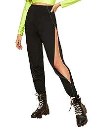 SOLY HUX Pantalones para Mujer con Cinta, Laterales Anchos, Estilo Casual