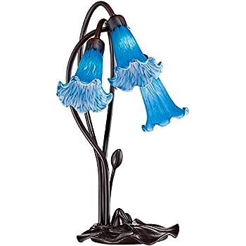 Ok Lighting Ok 9138t Flower Glass Shade Metal Table Lamp