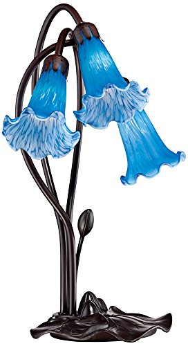 Blue Glass Halogen Table Lamp - Blue Lily Flower 17
