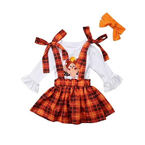 3PCS Toddler Baby Girls Thanksgiving Outfit Ruffle Sleeve Little Turkey Tops+Suspender Plaid Skirt Set]()